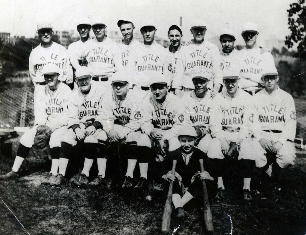 1940 Title Guaranty Baseball Team, Morris Holden 3rd RT in FR