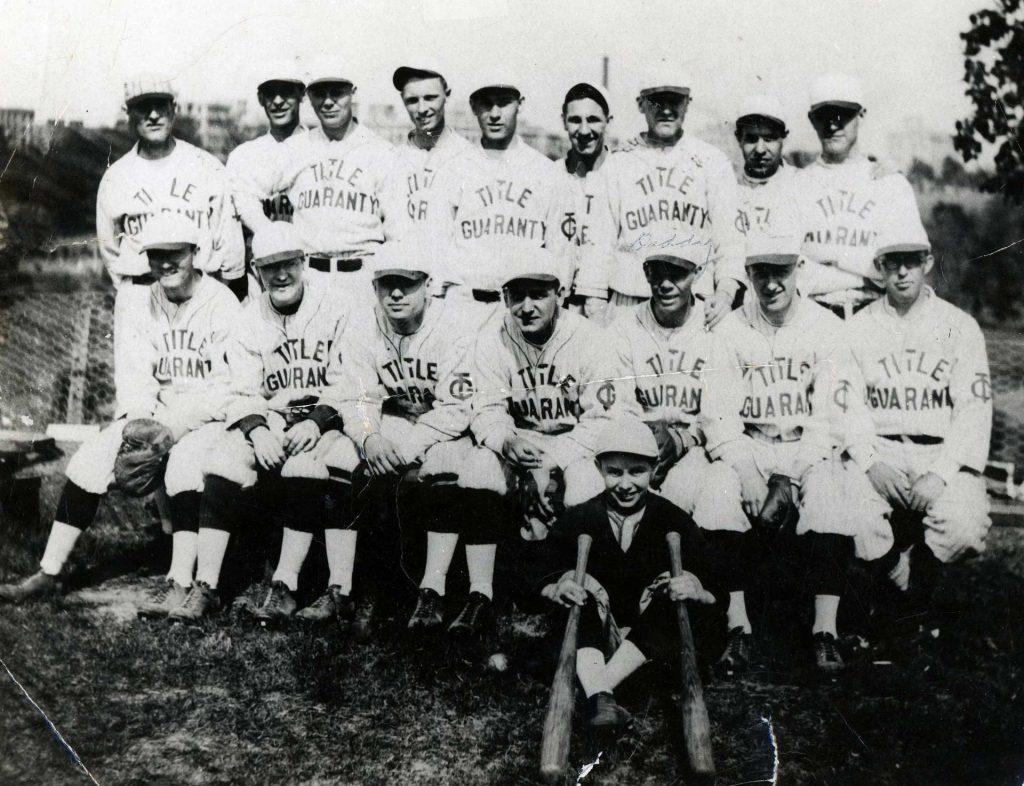 1940 Title Guaranty Baseball Team, Morris Holden 3rd RT in FR