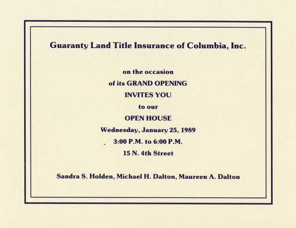 Open House 1989- Guaranty Land Title Columbia MO